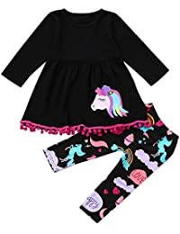 Adorable Toddler Baby Girls Rainbow Horse Print Long Sleeve Tunic Dress+Leggings Outfits Clothes Set