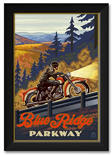 (Blue Ridge Parkway North Carolina Motorcycle Climb Framed Art Print by Paul A. Lanquist. Print Size: 12
