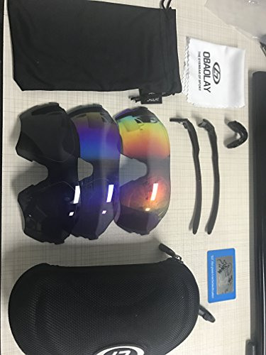 Sports Sunglasses,CAMTOA Polarized U.V 400 Protection Riding Sunglasses, Comfortable Cycling Wrap Sunglasses With 3 Interchangeable Lenses - for Men Women Cycling Baseball Golf Fishing Driving - Sunglasses V U