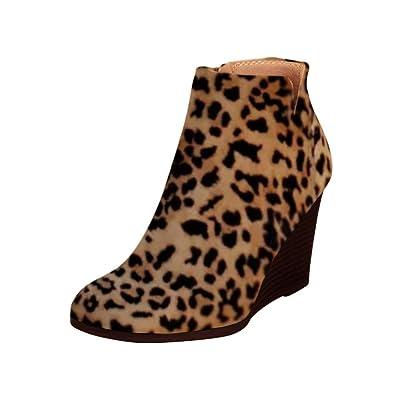LAICIGO Women's Side Slit Wedge Bootie Zipper Leopard Print Faux Suede Boots | Boots