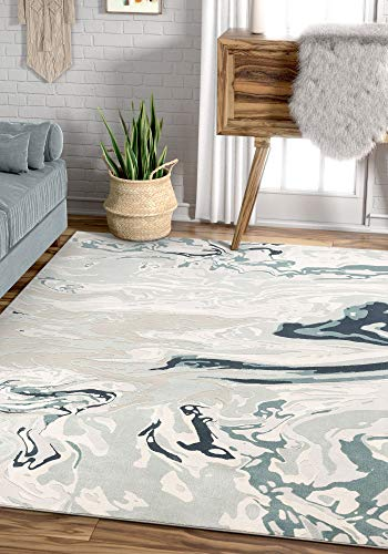 Well Woven Allie Blue Abstract Waves Design Area Rug 5x7 (5'3