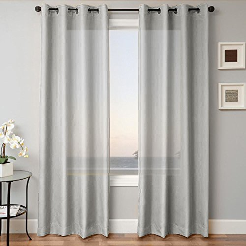 Gorgeous Home 1 PANEL SOLID SILVER GRAY SEMI SHEER WINDOW FAUX SILK ANTIQUE BRONZE GROMMETS CURTAIN DRAPES MIRA AVAILABLE IN DIFFERENT SIZES (95″ LENGTH)