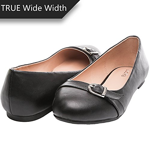 Luoika Women's Wide Width Flat Shoes - Comfortable Slip On Round Toe Ballet Flats(BlackPU 180340,10WW)