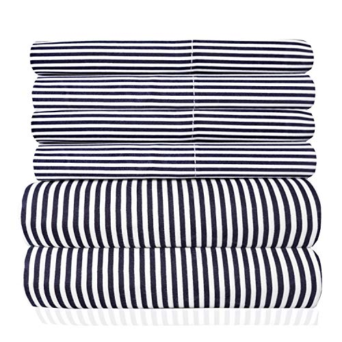 bed bath n more Loft Collection Modern Classic Pinstripe 6-Piece Sheet Set Navy King