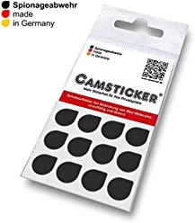 SPIONAGEABWEHR - 12 Stk. CAMSTICKER® Ø10mm - SCHWARZ GLÄNZEND - Kamera Aufkleber für integrierte Miniwebcams - Für Smartwatch, Handy, Tablet, Notebook, Laptop, Monitor & Fernseher