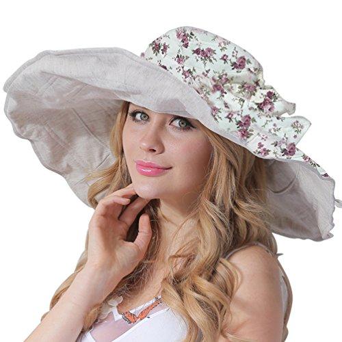 CACUSS Women s UPF 50+ Foldable Floppy Reversible Wide Brim Sun Beach Hat  with Bowknot 2b95cb08750