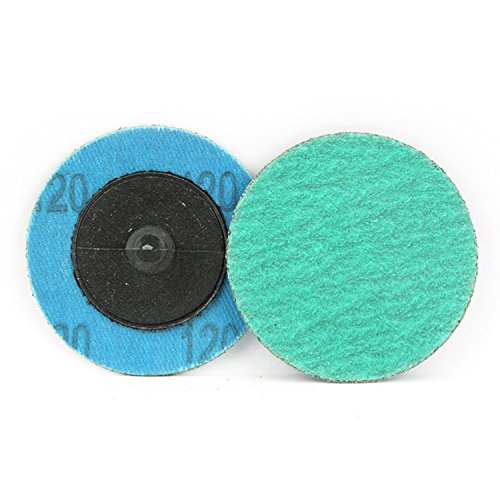 25 Pack - 2'' Green Zirconia with Grind Aid Quick Change Sanding Discs Type R Male - Roll On (120 Grit)…