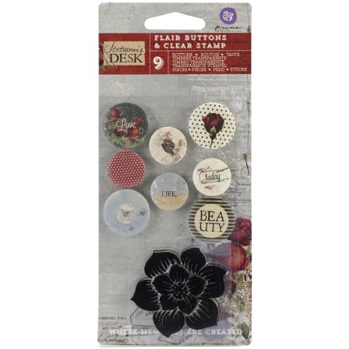 Prima Marketing Stationer's Desk Flair Buttons with 2 by 2-Inch Clear Stamp, 0.75-Inch to (Prima Marketing Stationers Desk)