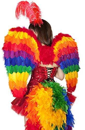 Adult Women's Rainbow Parrot Feather Wings Halloween Party Costume Accessory ()