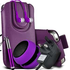 Samsung Galaxy Young S6310 Protective PU Leather Slip cuerda del tirón magnético En la bolsa del lanzamiento rápido con Mini capacitiva lápiz óptico retráctil, 3.5mm en auriculares del oído, Mini recargable altavoz de la cápsula, Micro USB CE aprobado 3 Pin Cargador (púrpura oscura)