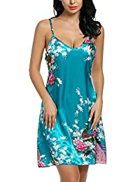 Avidlove Women's Peacock Nightshirts Satin Chemises Slip Sexy Sleepwear