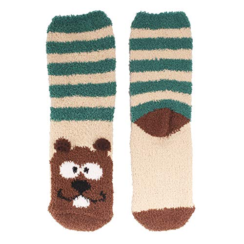 Fuzzy Beaver (Women's 1 Pair Super Soft Cute Fuzzy Cozy Warm Animal Face Indoor Outdoor Cabin Crew Home Socks, Beaver)