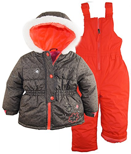 Rugged Bear Little Girls' Snowsuit with Flower Detail, Ebony, 4T by Rugged Bear