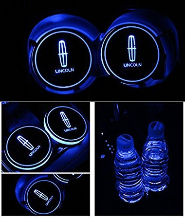 JSAMZ Car Logo LED Cup Pad led Cup Coaster USB Charging Mat Luminescent Cup Pad LED Mat Interior Atmosphere Lamp Decoration Light (Lincoln)