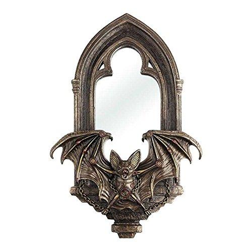 XoticBrands Steampunk Bat Mirror Decorative 2.36 inch, Bronze