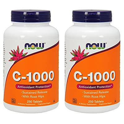 Now Foods Vitamin C-1000 Sustained Release with Rose Hips 250 Tabs (500 (250 X 2))