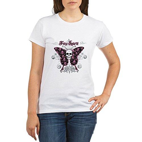 - Royal Lion Organic Women's T-Shirt Butterfly Skull Free Spirit Wild Child - Large