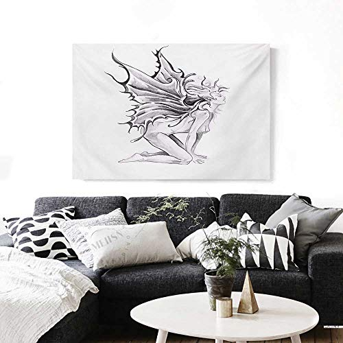 or Home Decoration Artistic Pencil Drawing Artwork Print Nude Fairy Opening its Angel Wings Print Customizable Wall Stickers 24