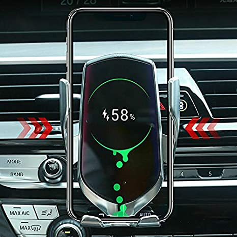 Wodeni Wireless Charger Car Mount Automatic Clamping Fast Charging Cell Phone Holder Dark Brown