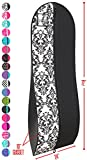 """Gusseted Gown Garment Bag for Women's Prom and Bridal Wedding Dresses - Travel Folding Loop, ID Window-72"""" x 24"""" with 10"""" Tapered Gusset - Black and White - by Your Bags"""