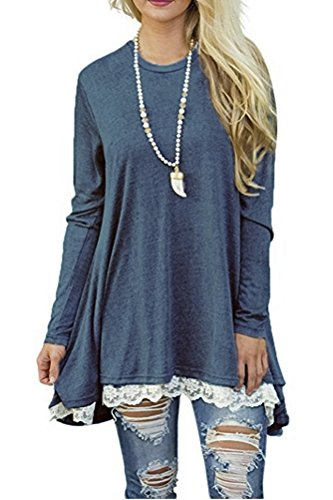Long Sleeve Tunic Top Blouse (Medium, Blue) (China Blue Lace)