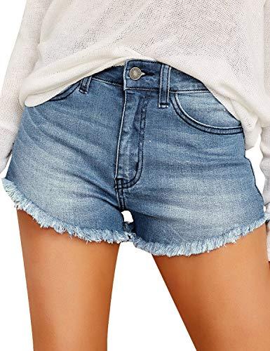 GRAPENT Women's Casual Mid Waisted Pockets Frayed Raw Hem Denim Jeans Shorts Denim Blue Size XXL