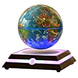 Levitating Globe, Magnetic Floating Rotating Globe with Illuminated Constellation Map for Home Office Decor, Christmas Birthday Gift 6 inch (Blue)