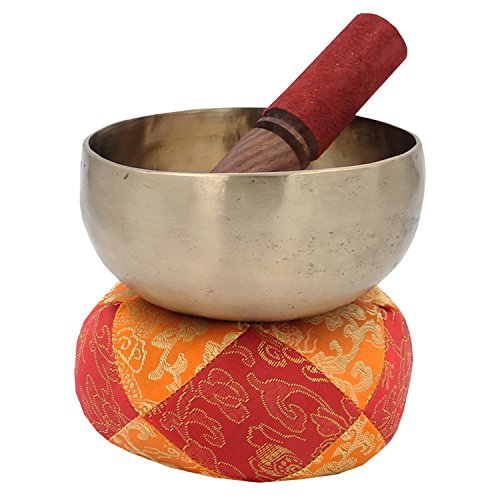 DharmaObjects Hand Hammered Zen 5 Inches Singing Bowl/Mallet / Cushion Set