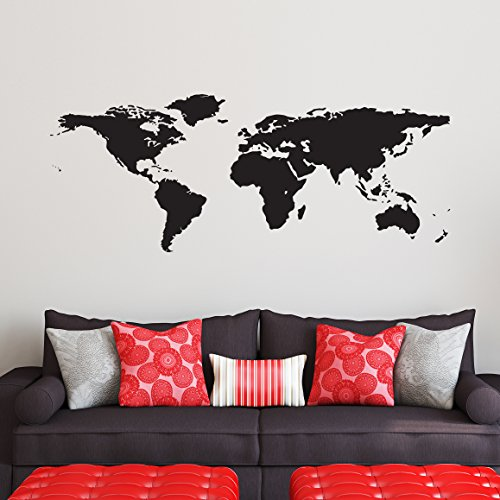 Black World Map Wall Decal - Easy to Apply Modern Large Earth Mural - Vinyl Atlas Graphic Wall Decoration Art for Kids Room, Nursery, Living Room, or Bedroom ()