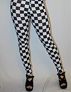 Black White Checker Chess Check Printe Legging