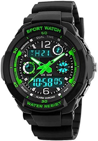 子供用腕時計 アナログデジタル表示 アウトドアスポーツ 防水 日付 アラームストップウォッチ チャイム 男の子用 greencolor