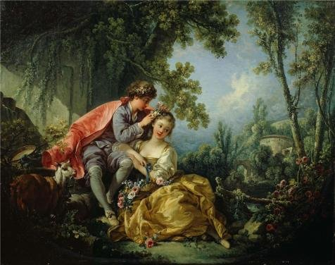 Oil Painting 'Francois Boucher - The Four Seasons-Spring, 1755' Printing On Perfect Effect Canvas , 18x23 Inch / 46x58 Cm ,the Best Home Office Gallery Art And Home Artwork And Gifts Is This Imitations Art DecorativeCanvas Prints (Spring Step Allegra)