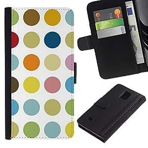 KingStore / Leather Etui en cuir / Samsung Galaxy Note 4 IV / Modelo de punto en colores pastel Color Blanco