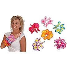 Luau - Two Tone Jumbo Maui Flower Leis Bracelets - 12 pairs