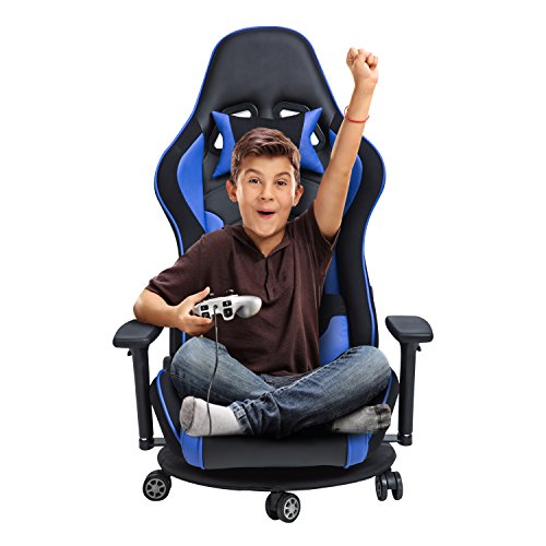 LCH Ergonomic Racing Gaming & Floor Chair-Back Lumbar Support, Reclining Back Lock Mechanism,Adjustable Headrest&Armrests,Rolling Seat Base, E-Sports High Back Ergonomic Leather Chair