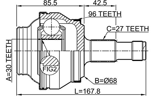 1 Year Warranty Febest # 1610-204A96R OUTER CV JOINT REAR 30X68X27