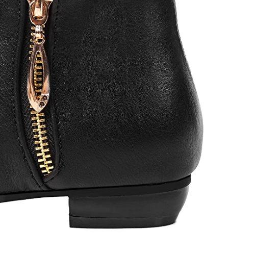 AIYOUMEI Damen Herbst Winter Flache Stiefeletten mit Reißverschluss Chunky Heel Bequem Modern Ankle Boots Schwarz