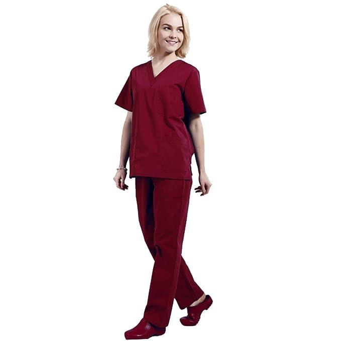 Free Fisher Camisa y Pantalón uniforme médico Unisex Mujeres Ropa para Enfermería, Rojo S