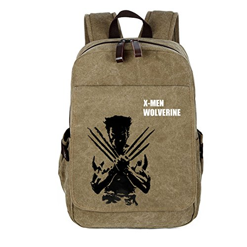 YOURNELO Leisure Travel Bag Rucksack School Backpack Bookbag (Wolverine Khaki 1)