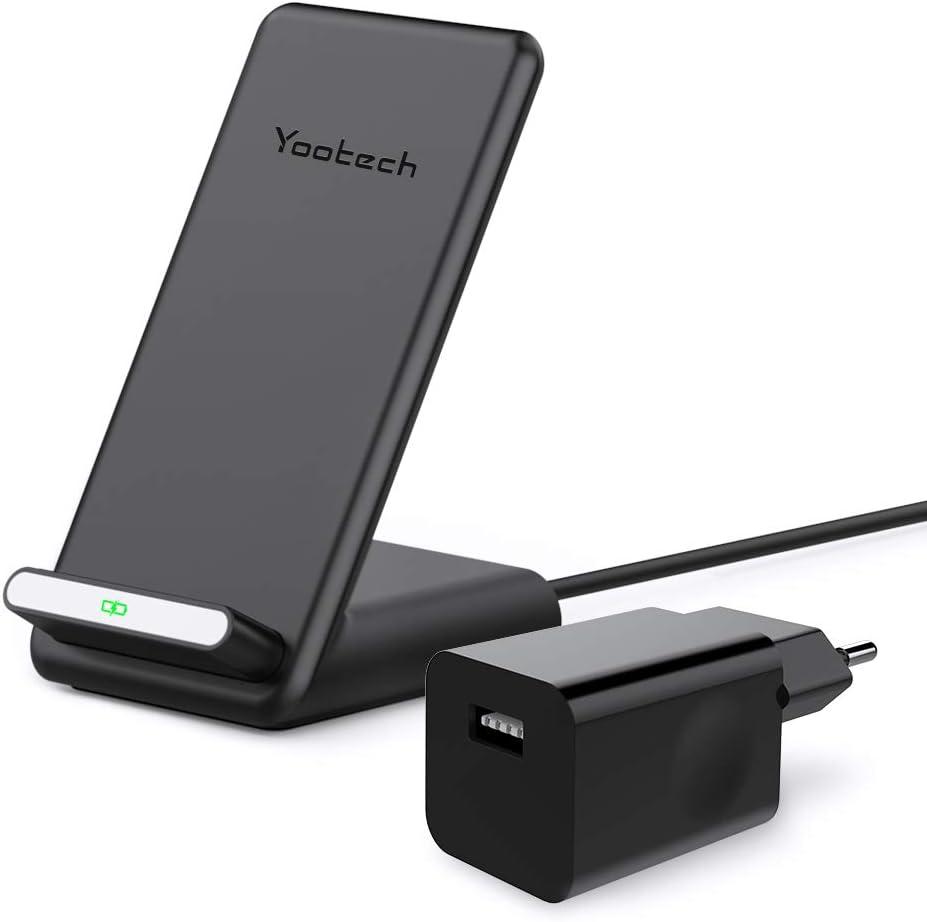 yootech Cargador Inalámbrico, 7.5W para iPhone SE 2020/11/11 Pro/11 Pro MAX/XS MAX/XR/XS/X/8/8+, Qi Carga Rápida 10W para Galaxy S20/Note 10+/Note 10/S10/S10+/S10E/S9/Note 9/S9+/Note 8/S8/S7/S6
