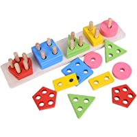 Party Propz Wooden Geometric Shape Matching 5 Column Blocks Educational & Learning Toys for Kids