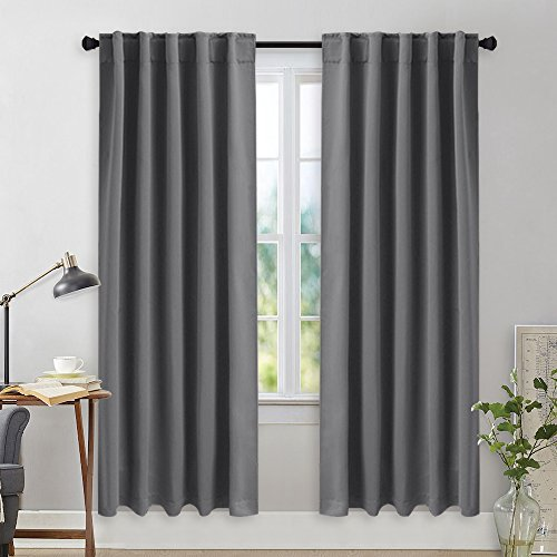NICETOWN Room Darkening Draperies Curtains Panels – (Grey Color) 42×72 Inch, 2 Panels Set, Thermal Insulated Room Darkening Blackout Drapes/Draperies with Rod Pocket & Back Tab for Window