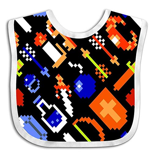 Price comparison product image Legend Of Zelda Nes Items Pattern Black Large Hot Baby Bandana Drool Bibs,  Boys Girls Burp Cloths for Drooling and Teething,  Soft Terry Cloth