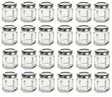 Nakpunar 24 pcs 1.5 oz Mini Hexagon Glass Jars with Silver Plastisol Lined Lids