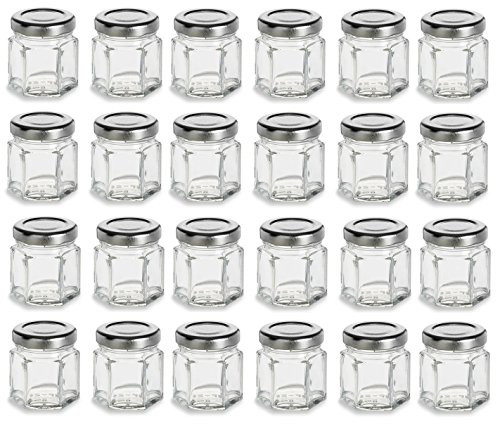 Nakpunar 24 pcs 1.5 oz Mini Hexagon Glass Jars with Silver Plastisol Lined (Cheap Jars)