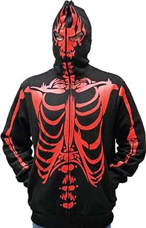 Full-Zip Up Skeleton Red Print Adult Black Hooded Sweatshirt Hoodie Costume with Face Mask (Large)