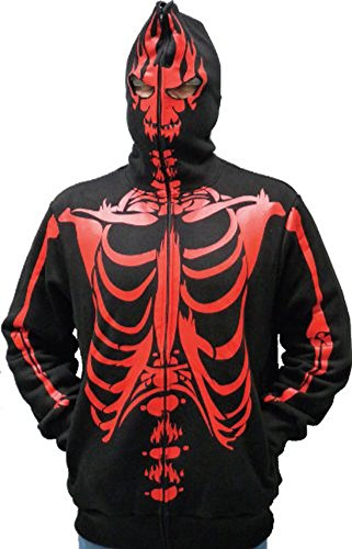 Full-Zip Up Skeleton Red Print Adult Black Hooded Sweatshirt Hoodie Costume with Face Mask (Large)