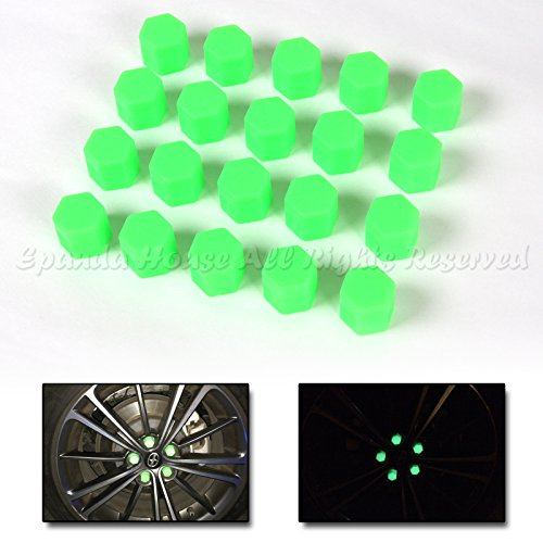 19mm 20X Glow In The Dark Blacklight Wheel Rim Lug Nuts Covers Cars/Bikes Green