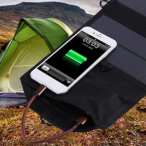 (Kudden 21W Solar Charger Panel Outdoor Dual USB Port Folding Compact Waterproof Smartphone Charging Emergency Bag for Android Apple)
