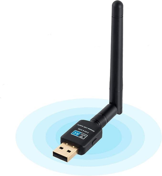 Adaptador WiFi por USB con antena receptora de 2 dBi y velocidad de 600 Mbps, 802.11ac, doble banda de 2,4 y 5,0 GHz, compatible con Mac OS y Windows ...